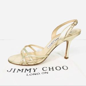 Jimmy Choo gold strappy heels